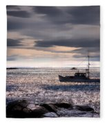 Lobster Boat Fleece Blanket