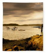 Lobster Boats Cape Porpoise Maine Fleece Blanket