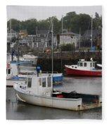 Lobster Fleet Rockport Harbor Fleece Blanket