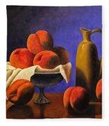 Local Peaches Oil Painting Fleece Blanket
