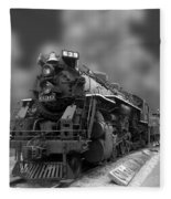 Locomotive 639 Type 2 8 2 Front And Side View Bw Fleece Blanket