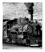Locomotive Black And White Train Steam Engine Fleece Blanket