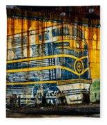 Locomotive On A Wall Fleece Blanket
