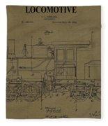 Locomotive Patent Postcard Fleece Blanket