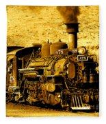 Sepia Locomotive Coal Burning Train Engine   Fleece Blanket