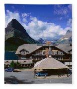 Lodge At Many Glacier, Glacier National Fleece Blanket
