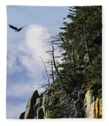 Lofty Bald Eagle Surveys Maines Bold Coast Fleece Blanket