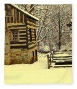 Log Cabin In The Snow Fleece Blanket
