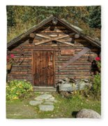 Log Cabin Kantishna, Alaska, Mnt Fleece Blanket
