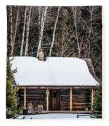 Log Cabin  Fleece Blanket