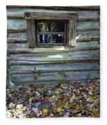 Log Cabin Window And Fall Leaves Fleece Blanket