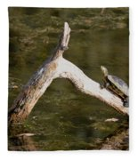 Log Climbing Turtle Fleece Blanket