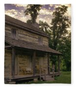 Log House Dusk Fleece Blanket