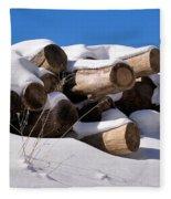 Log Pile In A Snow Drift In Winter Fleece Blanket