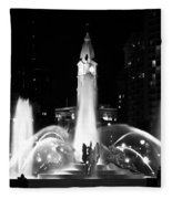 Logan Square Fountain At Night In Black And White Fleece Blanket