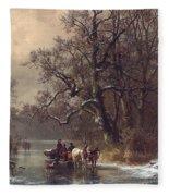 Loggers On A Frozen Waterway Fleece Blanket