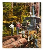 Logging With Steam Donkey Engine Near Olympia Washington Circa 1900 Fleece Blanket