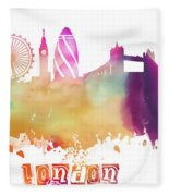 London England Skyline Pastel Fleece Blanket