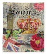 London England Vintage Travel Collage  Fleece Blanket