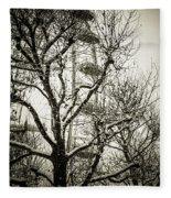 London Eye Through Snowy Trees Fleece Blanket