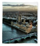 London - Palace Of Westminster Fleece Blanket