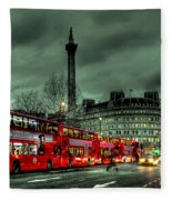 London Red Buses And Routemaster Fleece Blanket