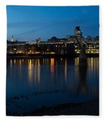 London Skyline Reflecting In The Thames River At Night Fleece Blanket