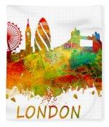London Skyline Watercolor Fleece Blanket