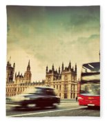 London The Uk Red Bus Taxi Cab In Motion And Big Ben Fleece Blanket