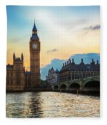 London Uk Big Ben The Palace Of Westminster At Sunset Fleece Blanket