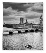 London Uk Big Ben The Palace Of Westminster In Black And White Fleece Blanket