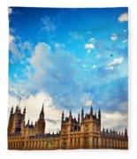 London Uk Big Ben The Palace Of Westminster Fleece Blanket