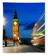 London Uk Red Bus In Motion And Big Ben At Night Fleece Blanket