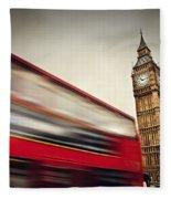 London Uk Red Bus In Motion And Big Ben Fleece Blanket