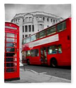 London Uk Red Phone Booth And Red Bus In Motion Fleece Blanket