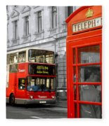 London With A Touch Of Colour Fleece Blanket