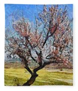 Lone Almond Tree In Bloom Fleece Blanket
