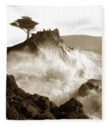 Lone Cypress Tree On  Midway Point Pebble Beach California Circa 1916 Fleece Blanket