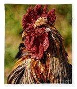 Lone Farm Rooster Portrait Fleece Blanket