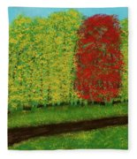 Lone Maple Among The Ashes Fleece Blanket