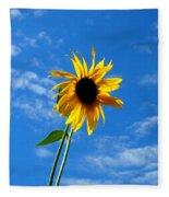 Lone Sunflower In A Summer Blue Sky Fleece Blanket