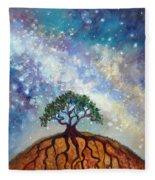 Lone Tree And Milky Way Fleece Blanket