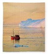 Lonely Boat - Greenland Fleece Blanket