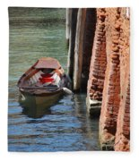 Lonely Boat In Venice Fleece Blanket