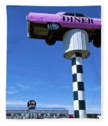 Lonely Diner With Pink Cadillac Fleece Blanket