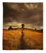 Lonely House On The Hill Fleece Blanket