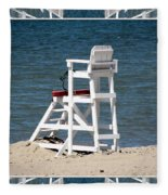 Lonely Lifeguard Station At The End Of Summer Fleece Blanket