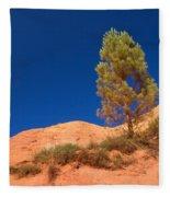 Lonely Pine On The Ocher Hill Fleece Blanket