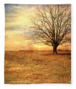 Lonely Tree At Sunset Fleece Blanket