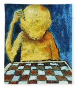 Lonesome Chess Player Fleece Blanket